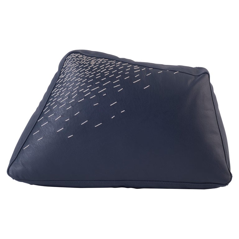 Pita Cushion Medium, Blue Leather