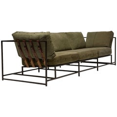Military Canvas and Blackened Steel Sofa