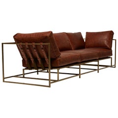 Auburn Leather and Antique Brass Sofa