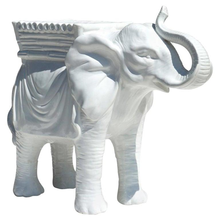 1960s Italian Pottery White Ceramic Elephant For