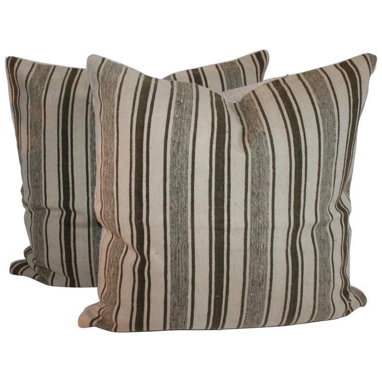 Striped Wool Ticking Pillows, Pair