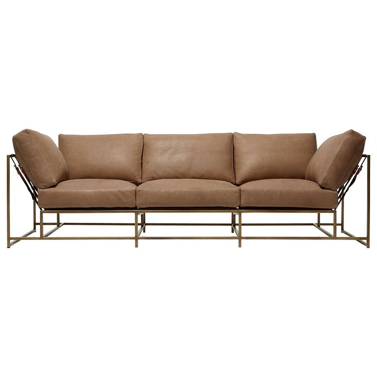Mauve Leather And Antique Br Sofa For