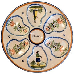 Estate French Faience Oyster Plate Signed Henriot Quimper, circa 1980