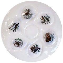 Estate French Porcelain Oyster Plate Signed 'G&L Limoges', circa 1950