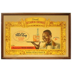 1940s Mil-Kay Orange Vitamin Drinks Cardboard Advertising Framed