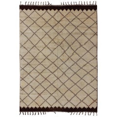 Large Vintage Moroccan Rug with Diamond Design in Ivory and Brown