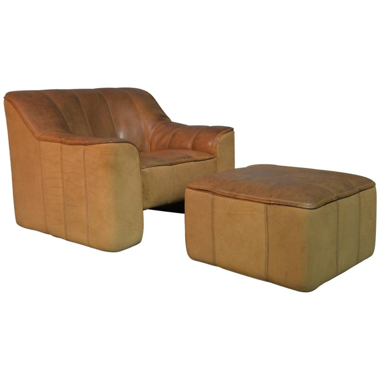 Vintage De Sede DS 44 Armchair with Ottoman, 1970s