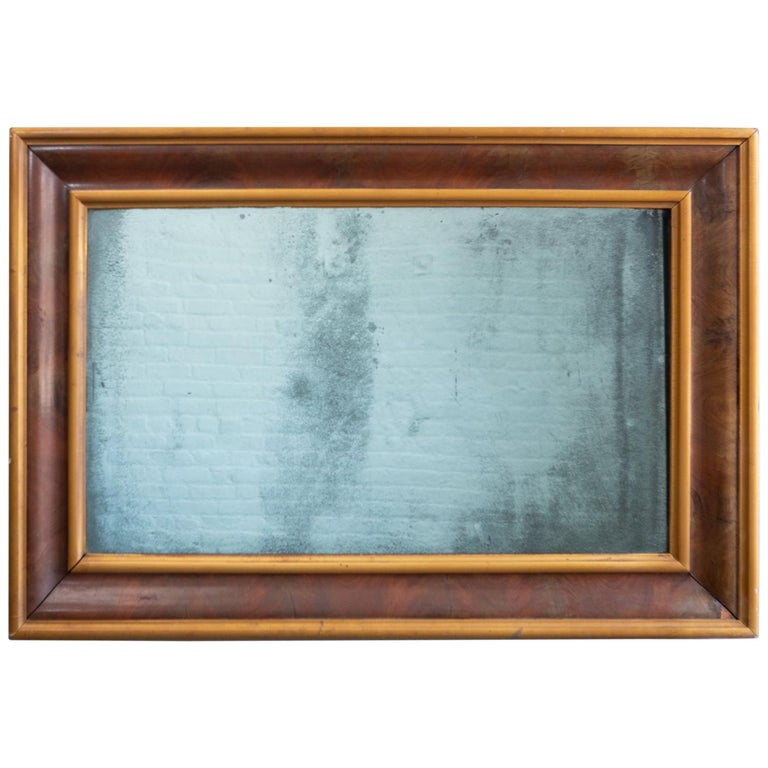 19th Century Rectangular Aged Blue Glass Mirror For Sale