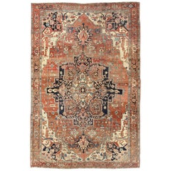 Antique Persian Serapi Rug with Colorful and Detailed Layered Medallion