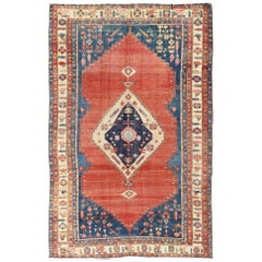 19th Century Tribal Antique Persian Bakshaiesh Rug in Red and Blue