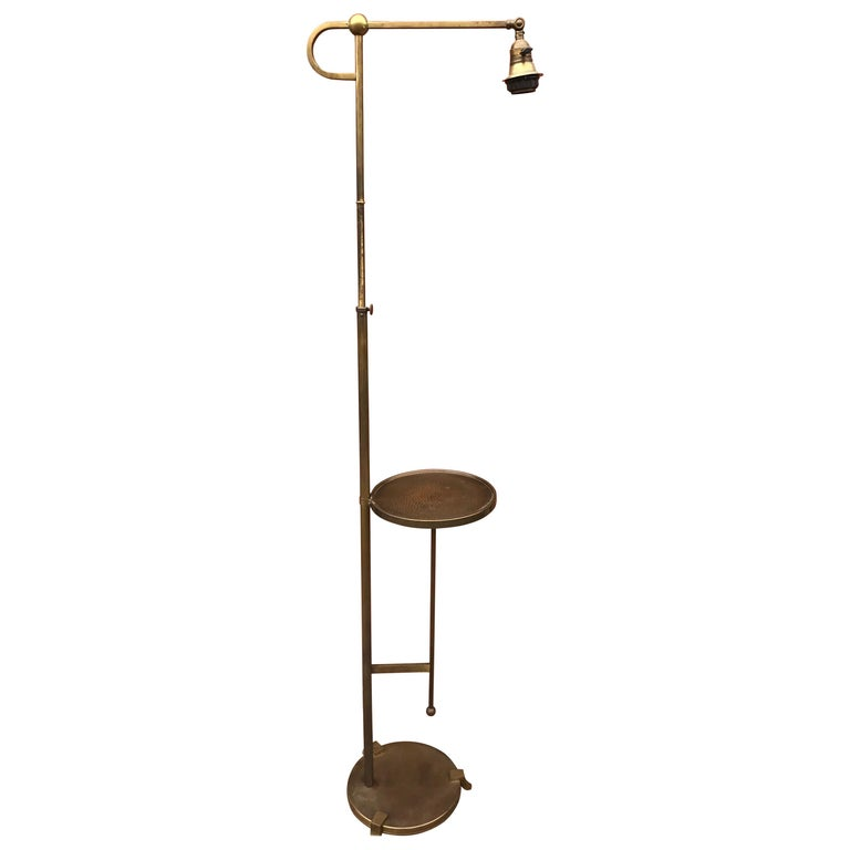 Adjustable Art Deco Brass Floor Lamp with Small Round Table Viennese Style