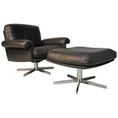 Vintage De Sede DS 31 Swivel Lounge Armchair and Ottoman, 1970s
