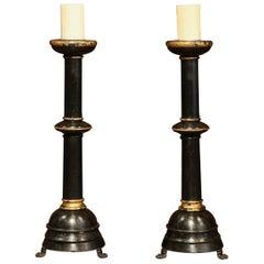 Tall Pair of 19th Century Italian Carved Blackened Candlesticks on Paw Feet