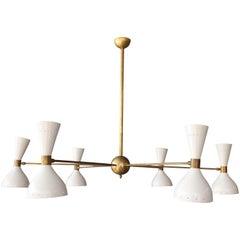 Italian Stilnovo Style Brass Chandelier
