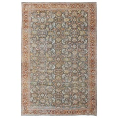 Large Antique Persian Sultanabad Mahal Rug in Gray/Green, Lime Green and Red