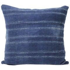 Vintage Indigo Horizontal Stripe Batik Style Pillow