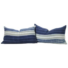 Vintage Indigo Blue Horizontal Stripe Batik Style Pillow