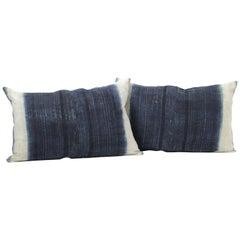 Vintage Indigo and Off-White Batik Style Pillow