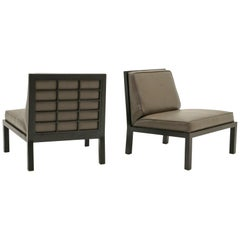 Pair of Slipper Chairs by Baker, Original Leather with Ebony Wood Frame Back