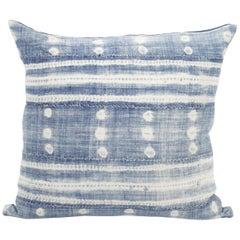 Blue and White Horizontal Stripe Batik Style Pillow