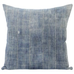 Vintage Blue Distressed Pillow with Vertical Seams