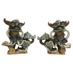 Imposing Pair of Chinese Glazed Pottery Fu Lions, Mid-20th Century