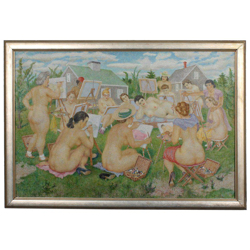 Oil on Canvas Pointillism Painting of Naked Women