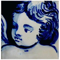 Blue Hand-Painted Baroque Cherub or Angel Portuguese Ceramic Tile/Azulejo