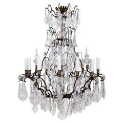 Early 20th Century Multi Crystal Fifteen-Arm Birdcage Chandelier
