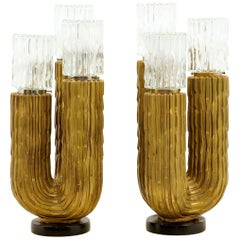 Large Pair of Cactus Table Lamps by Fuggiti Studios, 1971, Excellent Condition