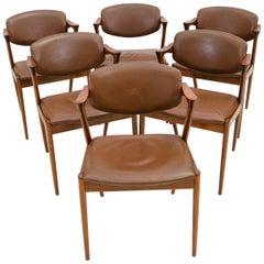 Set of Six Danish Teak Dining Chairs, Kai Kristiansen, Model 42