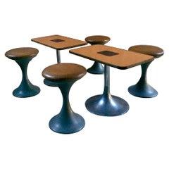 Midcentury Tulip Table and Stools 1960s Coffee Table Tulip Chairs Vintage Danish