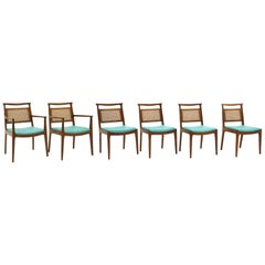 Six Dining Chairs by Edward Wormley, Walnut Frames, Cane Backs and Blue Seats