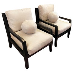 Pair of Kreiss Suede Lounge Chairs