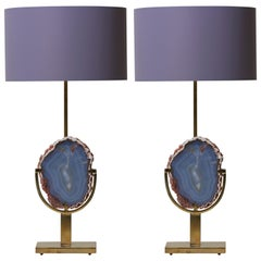 Pair of Stunning Agate Stone and Brass Table Lamps in the Manner of Willy Daro
