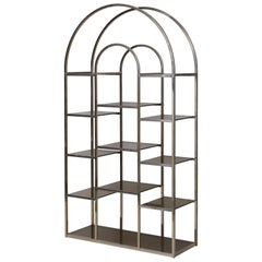 Huge Brass and Tinted Glass Bookshelf or Étagère by Romeo Rega