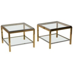 Set of Two Brass and Chrome Side or Coffee Tables by Maison Charles