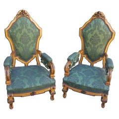 Set of Two Mid-19th Century German Armchairs, circa 1860, New Upholstery