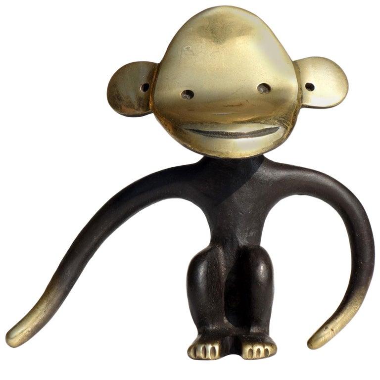 1950s by Walter Bosse Austria Design Brass Bronze Monkey Cork Screw For Sale