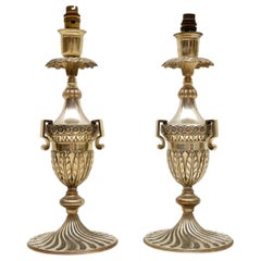 Pair of Antique Decorative Silvered Table Lamps