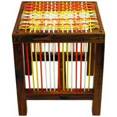 Contemporary Color Blocking Stool in Kiaat Wood with Oiled Finish and Nylon