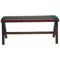 Contemporary A-Shape Color Bench in Kiaat Wood with Nylon