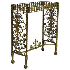 Antique French Art Nouveau Victorian Bronze Brass Small Side Table Console Base