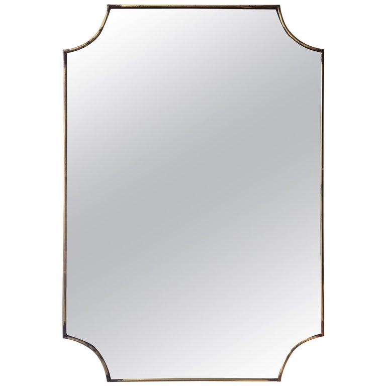 Brass 1950s Italian Mirror