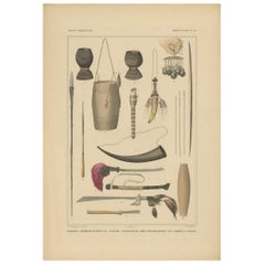 Print Weapons and Tools of Timor & Solor 'Indonesia' by Temminck, circa 1840