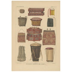 Print with Boxes and Baskets of Borneo 'Indonesia' by Temminck, circa 1840