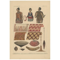 Print with Clothes and Utensils of Borneo 'Indonesia' by Temminck, circa 1840