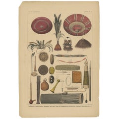 Antique Print with Tools from Borneo 'Indonesia' by Temminck, circa 1840