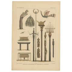 Print with Religious Items from Borneo 'Indonesia' by Temminck, circa 1840