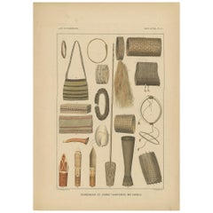 Print with Items of Papua 'New Guinea, Indonesia' by Temminck, circa 1840